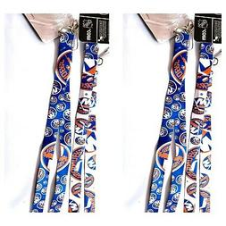 2 pack NEW YORK ISLANDERS LANYARD KEYCHAIN DOUBLE SIDED WITH