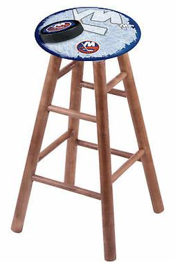 Maple Vanity Stool in Medium Finish with New York Islanders