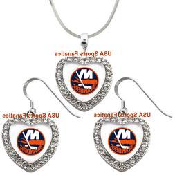 New York Islanders 925 Necklace / Earrings or Set Team Heart