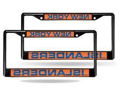 New York Islanders Black Metal  Laser License Plate Frame Se