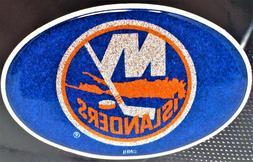New York Islanders Emblem Blue Sparkle Decal Sticker NHL Hoc