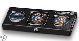 New York Islanders FAN'S GIFT BOX Puck + Coasters Set + Medi