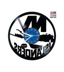 New York Islanders Ice Hockey Vinyl Record Clock Home Decor