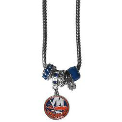 """new york islanders licensed nhl euro bead necklace with 18"""""""