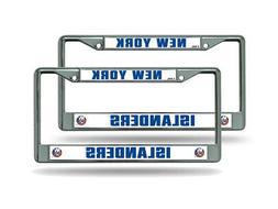 New York Islanders NHL Chrome Metal  License Plate Frame Set