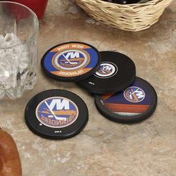 New York Islanders Real NHL Hockey Puck Pieces Drink Table C