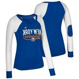 New York Islanders adidas Women's Elbow Patch Long Sleeve V-