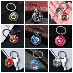 NHL American Ice Hockey League Team Keychains Silver Key Rin
