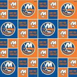 NHL Hockey New York Islanders Logo Squares Orange Blue Cotto