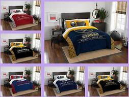 NHL Licensed 3 Piece Full Queen Comforter & Sham Bed Set In
