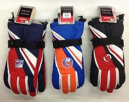 NWT NHL Assorted Teams Reebok Men's Winter Ski Gloves w/ Gri