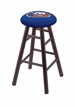 Oak Bar Stool in Dark Cherry Finish with New York Islanders
