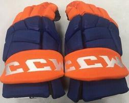 "Pro stock CCM Quicklite hockey gloves 13"" New York Islanders"