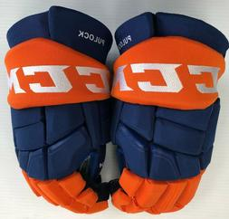 "Pro stock CCM Quicklite New York Islanders hockey gloves 14"""